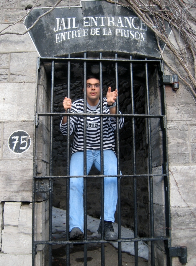 Had gone to the US embassy to get Visa for a Pizza (They make great pizzas in San Francisco). The next thing I know, I was inside this jail, handcuffed. If anyone knows good lawyers, please send them to me: Prisoner No 531121, Cell Number 420, Cen...
