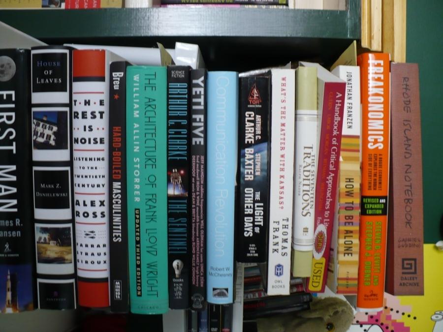 "My summer reading pile. From top to bottom: ""Rhode Island Notebook"" - Gabe Gudding ""Freakonomics"" - Steven Levitt and Stephen Dubner ""How to be Alone"" - Jonathan Frazen ""A Handbook of ..."