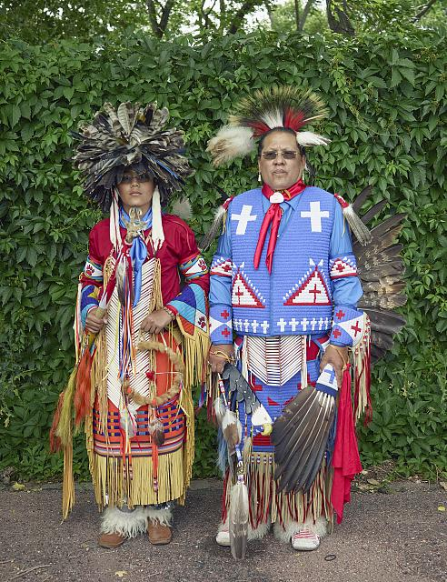 Rick Medina, right, a Yaqui Apache whose tribe is centered in Arizona, and his son, Miles Medina. They were among the participants at a Colorado Springs Native American Inter Tribal Powwow and festival in that central Colorado city
